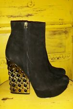 BOUTIQUE 9 EMLYN BLACK SUEDE PLATFORM JEWELED ANKLE BOOTS BOOTIES 9.5 M USED 1X