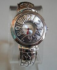 Silver finish designer style fashion unique pattern covered dial cuff watch