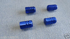 SMART BLUE METAL DUST VALVE CAPS TYRE WHEEL ALUMINIUM SOLID HEXAGON COVER 4PCS