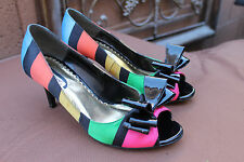neon Peep Toe 80s Rainbow High Heels Bows Pumps Vintage J Renee  Retro Funky 6.5