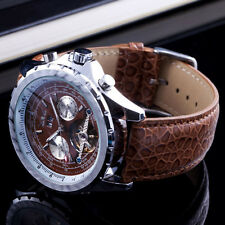 VINTAGE TOURBILLION+ LEOPARD LEATHER FASHION NEW MEN'S MECHANICAL WATCH CASE