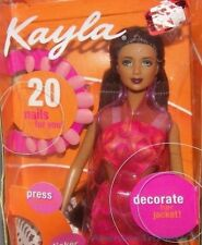 2001 Barbie AMAZING NAILS KAYLA Fashion Doll Tan w/Burgundy Hair Green Eyes NRFB