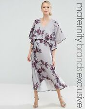 Hope & Ivy Maternity 2 In 1 Nursing Midi Dress With Hi Lo Hem UK 12/EU 40/US 8