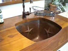 """15"""" Square Hand Hammered Copper Bar Sink with Star Design"""