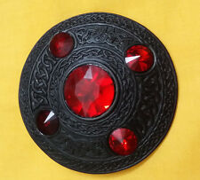 "Scottish Kilt Fly Plaid Brooch Red Stone Black Finish 4""/Celtic Dragon Brooches"