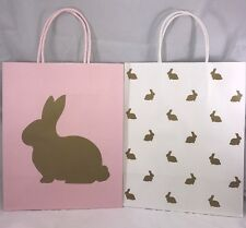 Celebrate It Easter Pink And White Gold Bunnies Medium Gift Paper Bags New