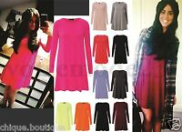WOMEN'S LONG SLEEVE LOT PLUS SIZE MIDI NEON SCOOPED NECK SHORT SWING DRESS 8-22