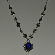 VICTORIAN STYLE FLOWER FILIGREE DEEP BLUE CRYSTAL DARK SILVER PLATED NECKLACE