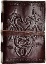 DOUBLE DRAGON Hand Tooled Leather Bound Blank Book Diary Journal Cord Embossed