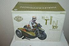 MOTO SIDE-CAR ARMEE 1950  MOTOR HARLEY DAVIDSON TOY COLLECTION EN TOLE NEUF