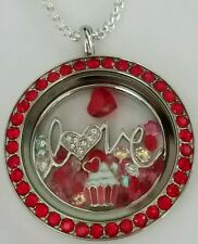 ORIGAMI OWL RED SIAM LOCKET VALENTINES STARDUST CRYSTALS CUPCAKE CHARM CHAIN