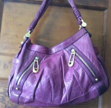 B Makowsky Purple Leather Hobo Handbag