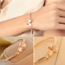 Charming Women Flower Crystal Gold Plated Hand Cuff Bracelet Bangle Jewelry Gift