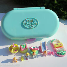 Mini polly pocket baby-sitting stamper set 100% COMPLETE 3 baby teddy 4 cachet