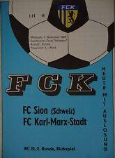 Programma EC 1989/90 FC Karl Marx città-FC Sion