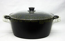 14L COTTURA pressofuso CASSEROLE Pentola Cottura Pan STOCKPOT casserol Coperchio in vetro 36cm