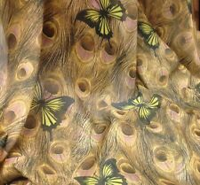 "OLIVE/YELLOW/BLACK  PEACOCK  BUTTERFLY CHIFFON PRINT FABRIC 60"" WIDE 1 YARD"