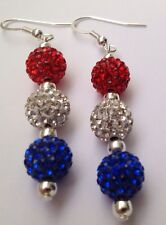 CRYSTAL  UNION JACK  DROP EARRINGS WITH 3 CLAY CZECH CRYSTAL DISCO BEAD-UK SELL