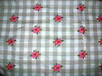 """PINK FLOWERS ON BROWN & WHITE CHECKED COTTON FABRIC - 58"""" x 44"""""""