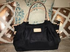 💕KATE SPADE Stevie LARGE DOUBLE HANDLE BLACK NYLON w/NUDE LEATHER TRIM STACHEL