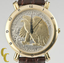 Britannia Gold Plated Walking Liberty Half Dollar Quartz Watch w/ Leather Band
