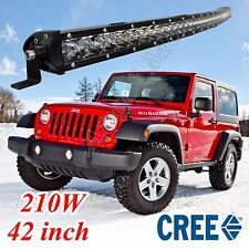 42INCH 210W SINGLE ROW CREE LED WORK LIGHT BAR CURVED COMBO OFF ROAD 4WD TRUCK