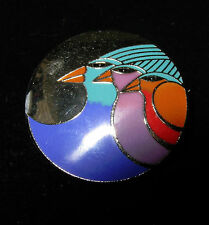 Vintage Laurel Burch Pin Brooch Enamel Cloisonne Celestial Birds