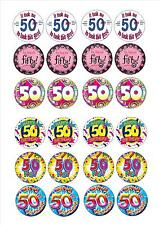 24 Edible cake toppers decorations 50th Birthday mix happy fifty 50