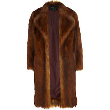 RIVER ISLAND SIZE 8-10 FAUX SHAGGY FUR LONG COAT COPPER BROWN WOMENS LADIES GIRL
