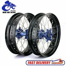 "17"" x3.5"" & 17"" x 4.25"" Yamaha Supermoto Wheel Set Blue Hub YZ 250 F YZ 450 F"