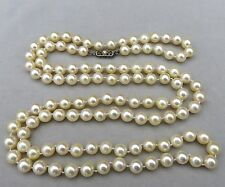 "ANTIQUE 38"" OPERA LENGTH AAA AKOYA PEARL & 18K GOLD MINE CUT DIAMOND NECKLACE"