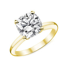 1.38CT 14k Yellow Gold Cushion Cut Moissanite 4 Prong Solitaire Engagement Ring