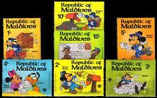 MALDIVES ISLANDS 1981, Inter Year of the Child, Disney Cartoon Stamps-Set of 7