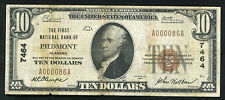 1929 $10 The First National Bank Of Piedmont, Al National Currency Ch. #7464