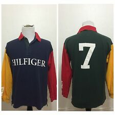 Tommy Hilfiger Long Sleeve Polo Shirt Multicolored Color Block 7 Spell Out Large