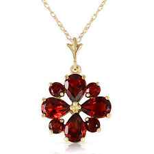 Genuine Not Enhanced Garnet Red Gemstone Pendant 14K Solid Gold Necklace