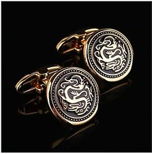 Vintage gold dragon silver Mens Wedding Party Gift shirt Cuff links cufflinks