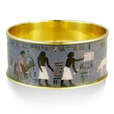 "Egyptian Scenes Bangle Bracelet in Gold-Plated Brass 1-1/4 High x 2.5"" in Dia."