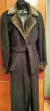 Long Beautiful Made in Italy SHEARLING FUR COAT Black & Brown, Leather, Small