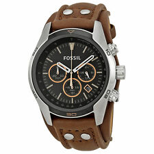 NEW Fossil Coachman Chronograph Black Dial Brown Leather Mens Watch CH2891