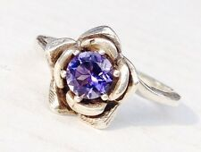 NEW Silver Flower / Rose RING  5mm Round Faceted Top Blue Purple TANZANITE