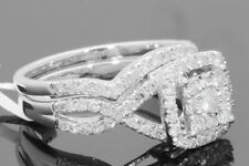 10K WHITE GOLD 1.23 CARAT WOMENS REAL DIAMOND ENGAGEMENT RING WEDDING BAND SET