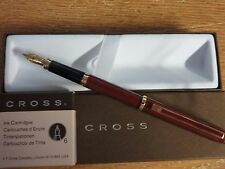 Cross Signature Series Burgundy Lacquer w 18k Solid Gold B Nib Fountain Pen USA