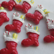 10x Lovely Red Christmas Boots Resin Flatback Buttons Scrapbooking Craft16x23mm