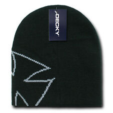 CHOPPER BEANIE HAT Short Knit Cap winter ski snowboard skull motorcycle BLACK