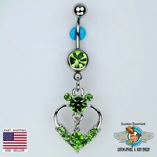 Mickey Mouse Dangle Belly Ring Bar CZ Heart and Solitaire Navel Piercing (D11)