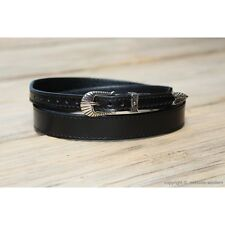 """Western Leather Hat Band for Cowboy Hats Plain Black Leather 3/4"""" Wide"""
