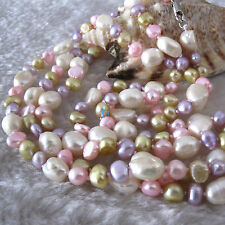 "54"" 5-10mm Multi Color Baroque Freshwater Pearl Necklace Pearl Jewelry"