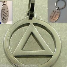 Serenity Prayer Necklace + Keychain Stainless Steel  AA 12 Step Silver Sobriety
