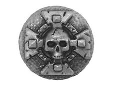 Skull and Cross 1 inch ( 25 mm ) Pewter Button Antique Silver Color